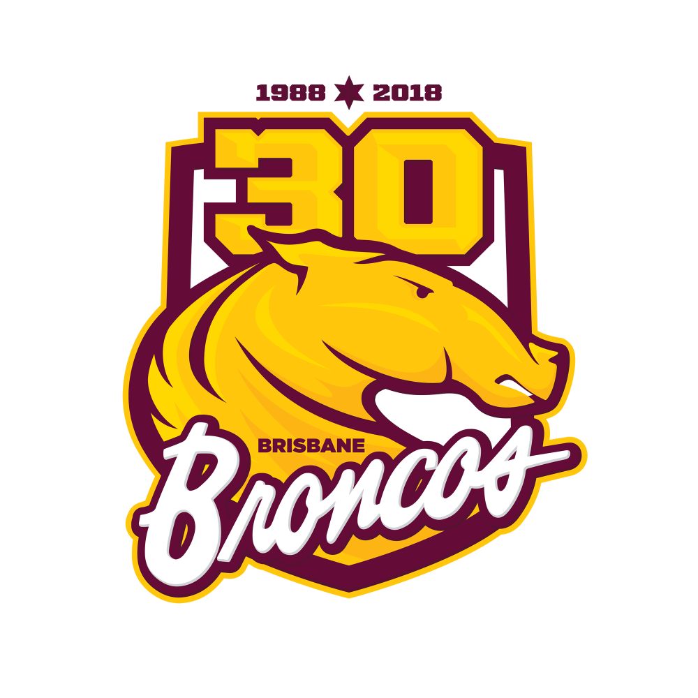 Brisbane Broncos 30 years logo